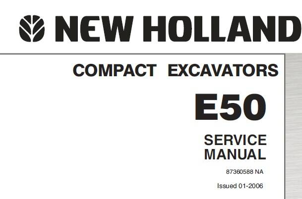 NHE New Holland E50 Compact Excavator Service Repair Manual SD