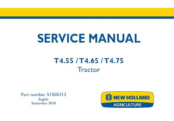 NHTR New Holland T4.55 , T4.65 , T4.75 Tractor Service Repair Manual 2018 SD