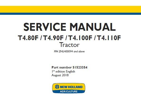 NHTR New Holland T4.80F, T4.90F, T4.100F, T4.110F Tractor Service Repair Manual (ZHLH00094 and above) SD