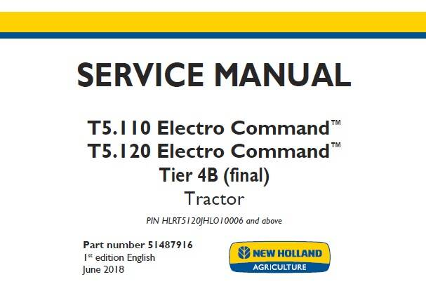 NHTR New Holland T5.110 Electro Command, T5.120 Electro Command Tier 4B (final) Tractor Service Repair Manual 2018 NA SD
