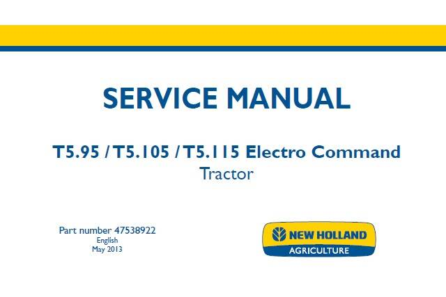 NHTR New Holland T5.95, T5.105, T5.115 Electro Command Tractor Service Repair Manual SD