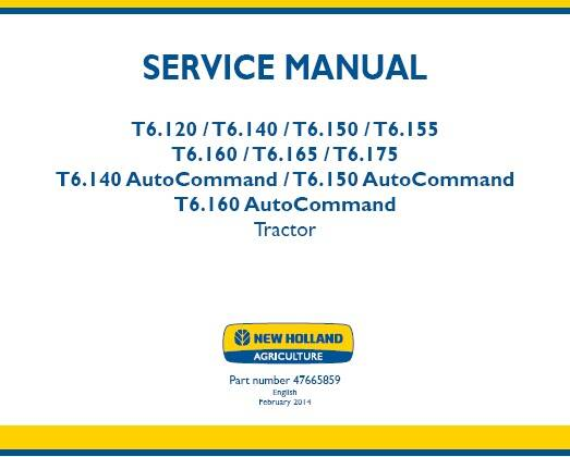 NHTR New Holland T6.120, T6.140, T6.150, T6.155, T6.160, T6.165, T6.175, T6.140 Tractor Service Manual SD
