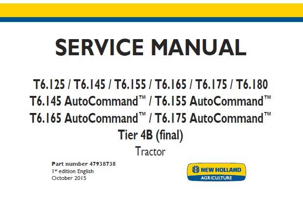 NHTR New Holland T6.125-T6.180, T6.145 -T6.175 AutoCommand Tier 4B (final) Tractor Service Repair Manual SD