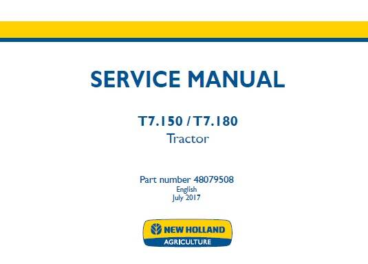 NHTR New Holland T7.150 , T7.180 Tractor Service Repair Manual SD