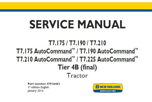 NHTR New Holland T7.175 T7.190 T7.210 , T7.175-T7.225 AutoCommand Tier 4B (final) Tractor Service Repair Manual NA SD