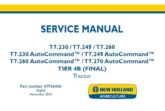 NHTR New Holland T7.230 T7.245 T7.260 , T7.230-T7.270 AutoCommand TIER 4B (FINAL) Tractor Service Repair Manual (47936456) NA SD