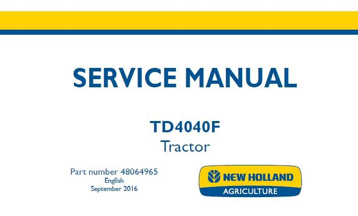 NHTR New Holland TD4040F Tractor Service Repair Manual NA SD