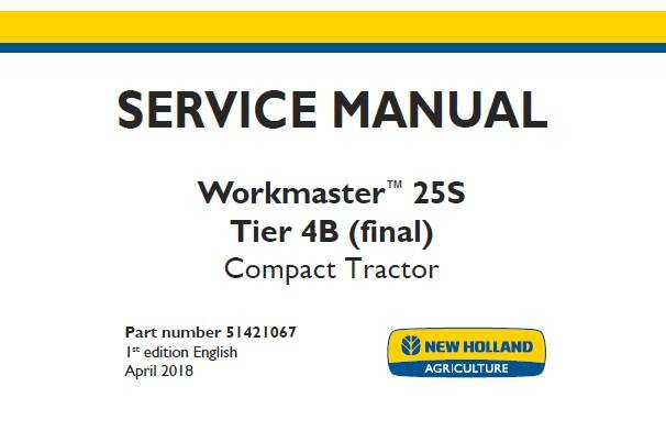 NHTR New Holland Workmaster 25S Tier 4B (final) Compact Tractor Service Repair Manual SD