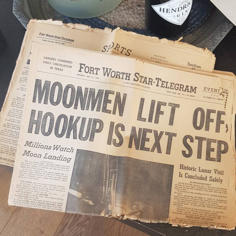 Fort Worth Star-Telegram Moonlanding newspaper july 21, 1969