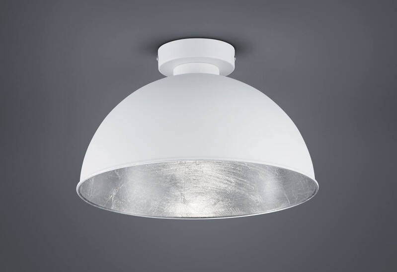 Plafondlamp Jimmy 9 x 31 cm staal zilver/wit