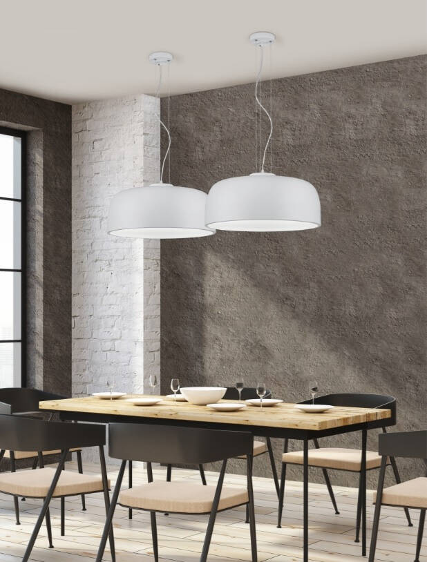Hanglamp Baron 52 cm staal wit