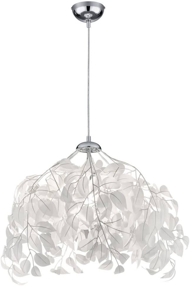 Hanglamp Leavy 150 cm staal chroom/wit