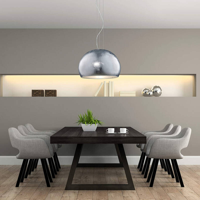Hanglamp Ontario 51 cm staal/glas zilver/chroom/opaal
