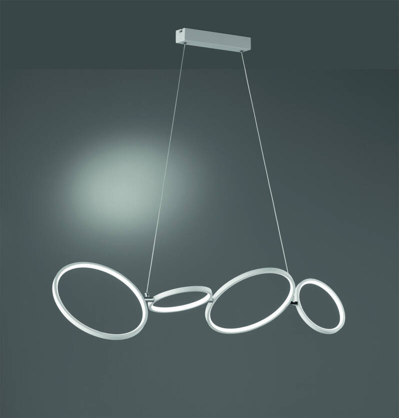 Hanglamp Rondo 110 cm led staal/acryl 1 kg matwit