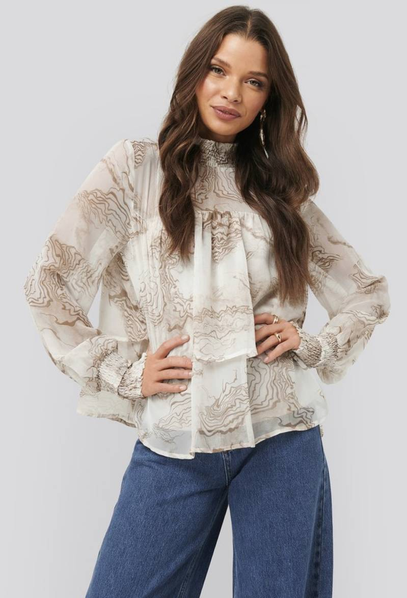 Oyster printed smooked blouse