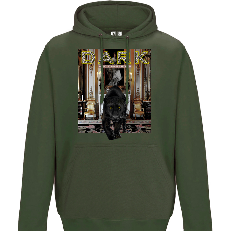 DARK AND DANGEROUS HOODIE - OLIVE GREEN - AZUKA