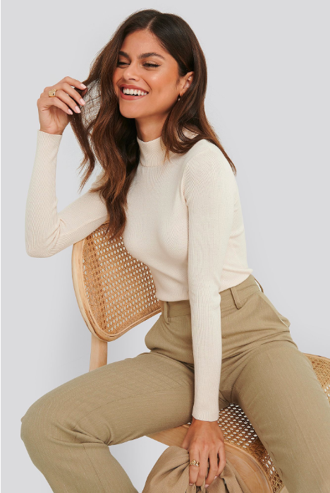Ribbed polo kinted sweater