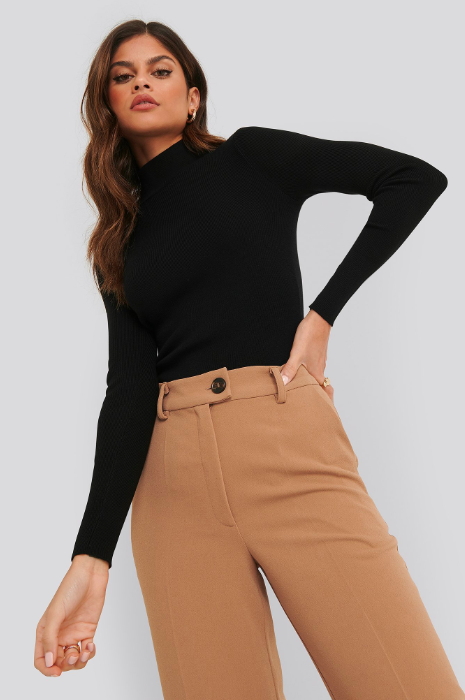 Ribbed polo knited sweater