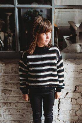 PULL CATIMINI STRIPE ZWART BORDEAUX