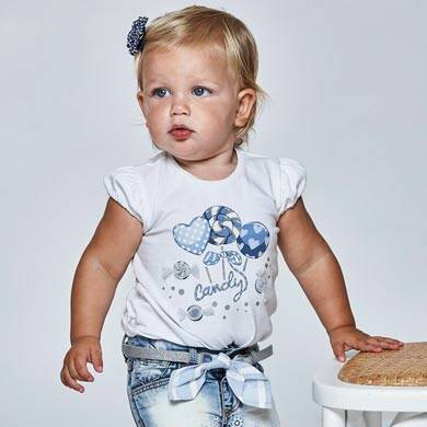 SHORTSLEEVE WIT LOLLY PRINT WIT BLAUW MAYORAL REF 1081