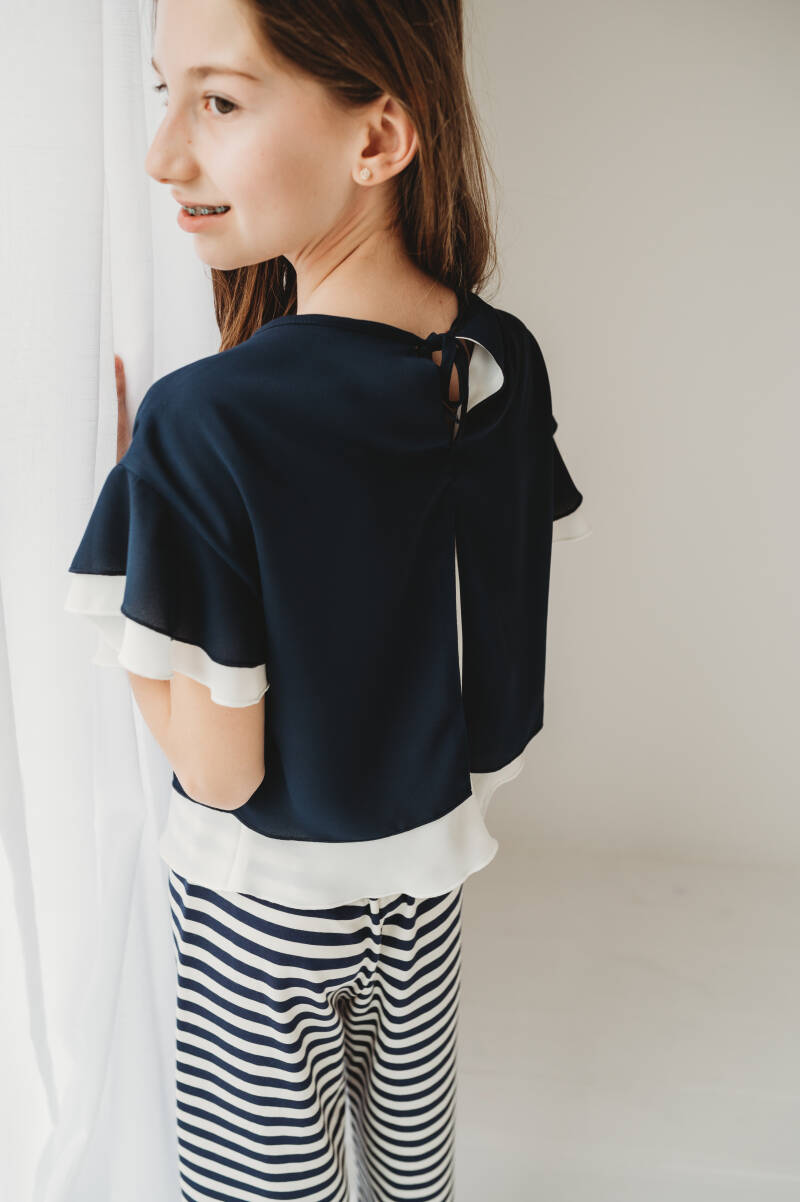 BLOUSE VOILE WIT NAVY ELSY REF DANIL