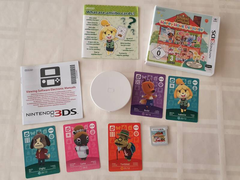 3ds spel happy home designer + nfc reader + amiibo cards