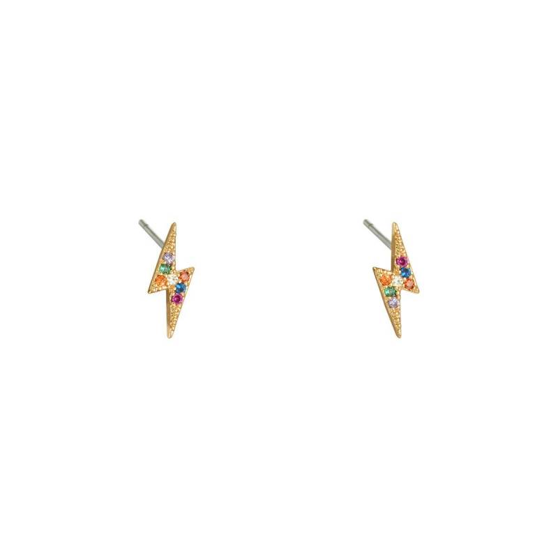 Lightning earrings multi colour/gold