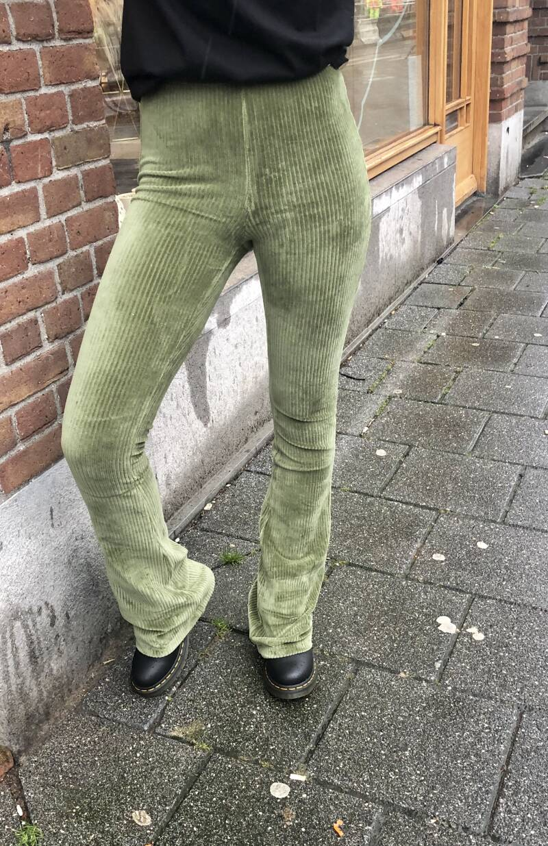 Green flaired pants
