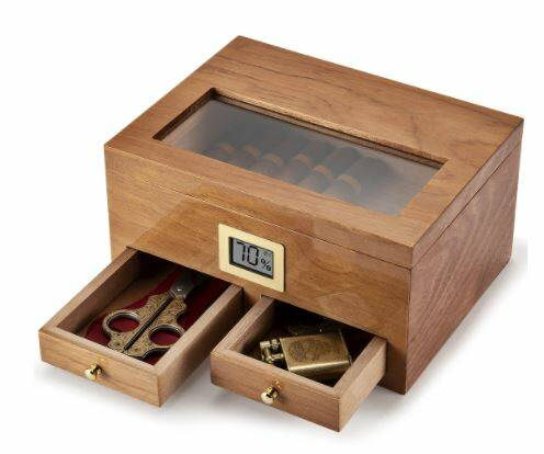 Luxurious  Cigar Humidor With Hygrometer Humidifier 2 Drawers