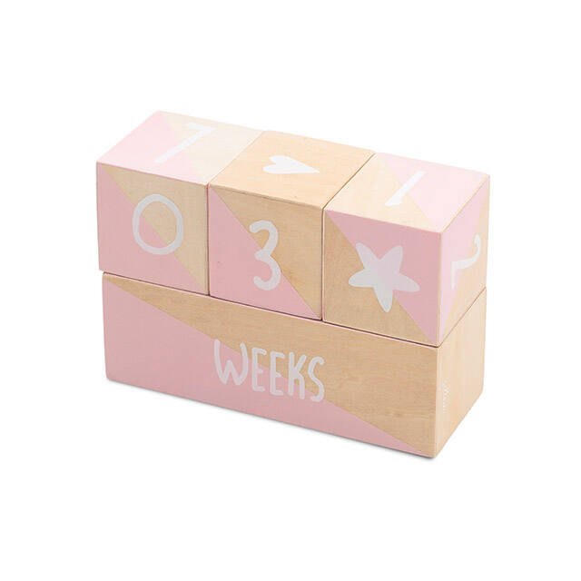 Milestone blocks white/pink (4pcs) Jollein