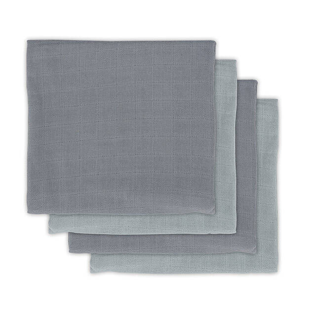 Bamboe Multidoek small 70x70cm Storm grey (4pack) Jollein