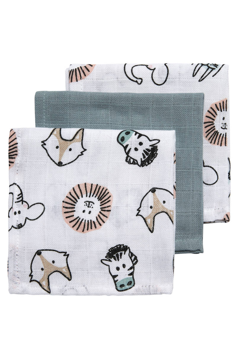 Monddoekjes 3-pack Animal-Uni Stone Green Meyco