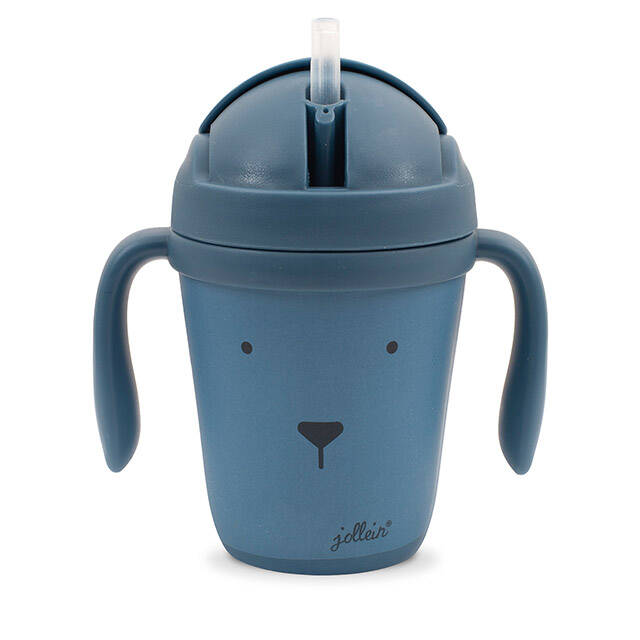 Drinkbeker bamboe Animal club steel blue Jollein