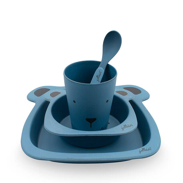 Dinerset bamboe Animal club steel blue Jollein