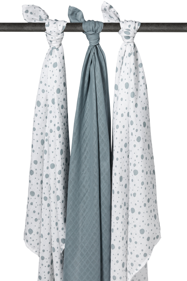 Swaddles 3-pack Dots-Uni-Dots Stone green Meyco