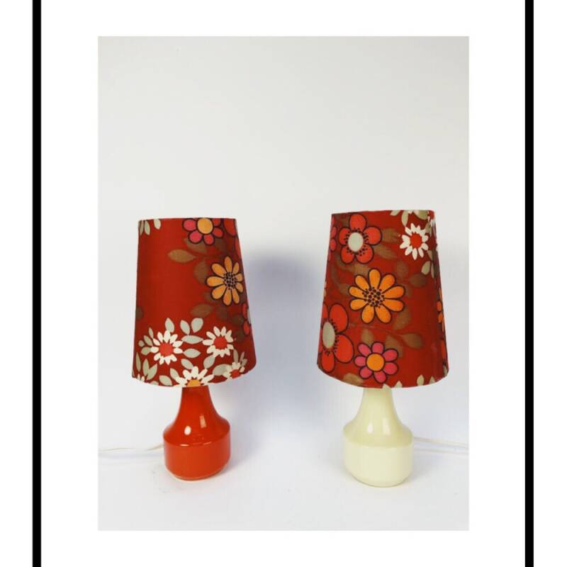 Retro lamp bloemenprint