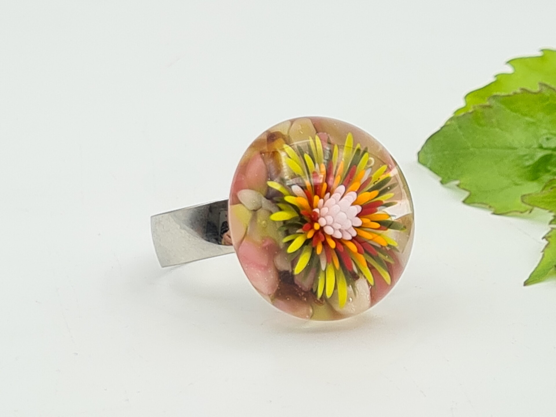 glass top glass flower red lampwork flower top flower top change top glass top Red flower change ring top