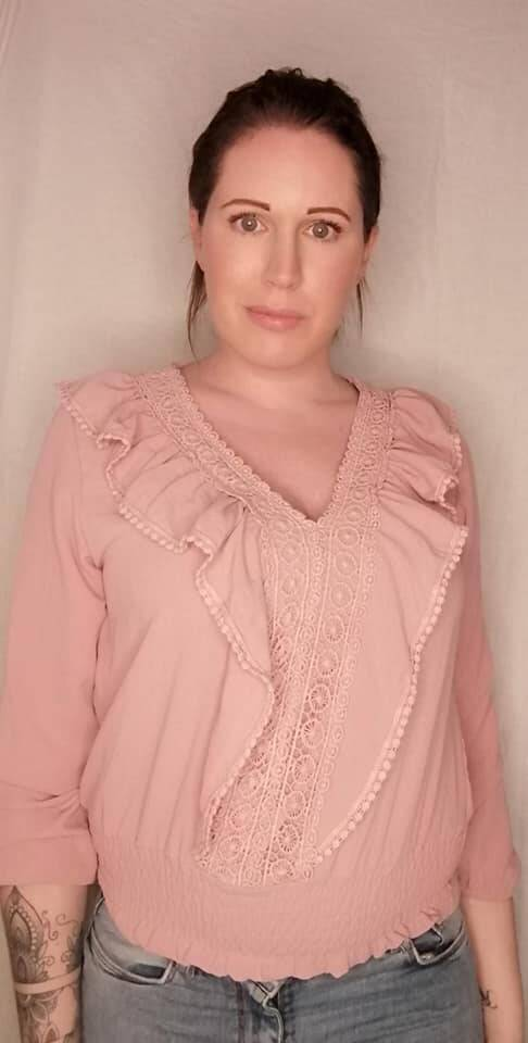 Roze blouse met rushes