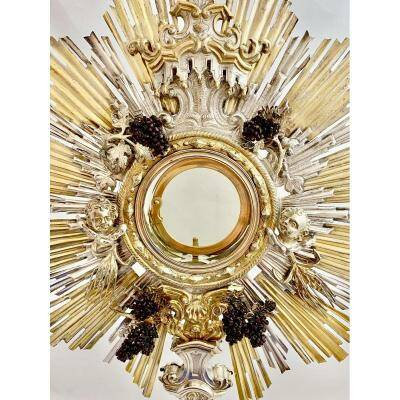 18th Century Monstrance, Sterling Silver, Probably Austria-Hungary, ostensory, Around 1750