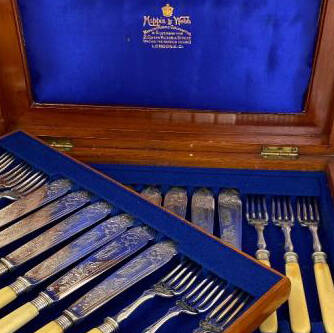 Victorian set of 12 fish forks and knives. Silver-plated and ivory
