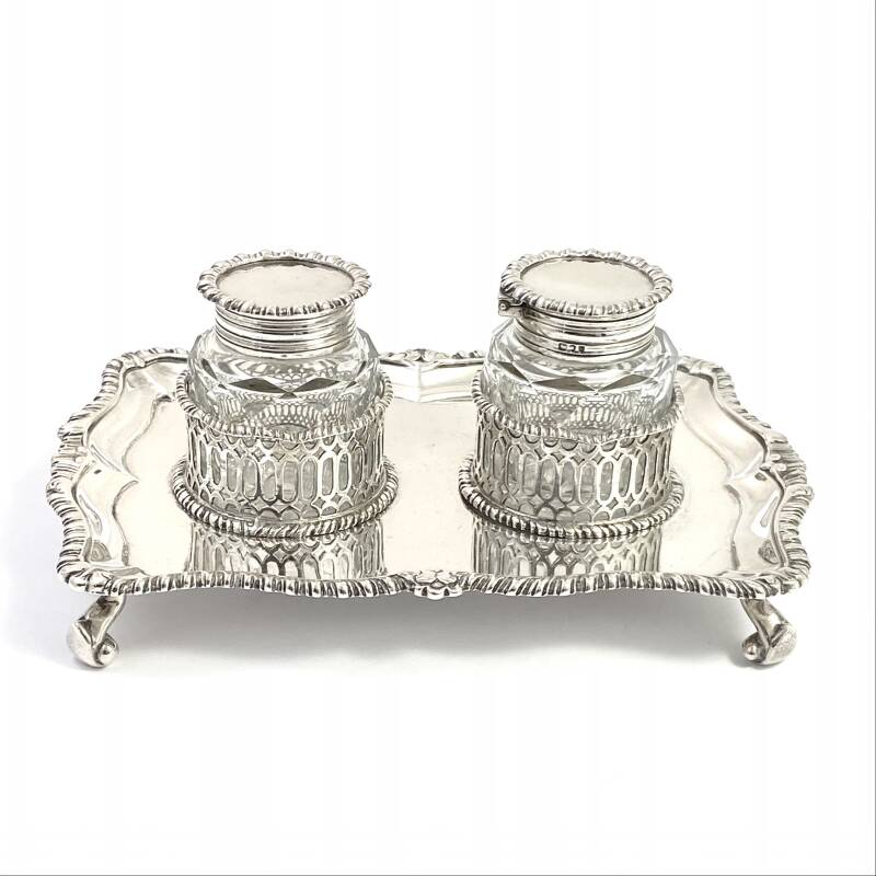 Double inkwell in sterling silver and cut crystal, London 1895