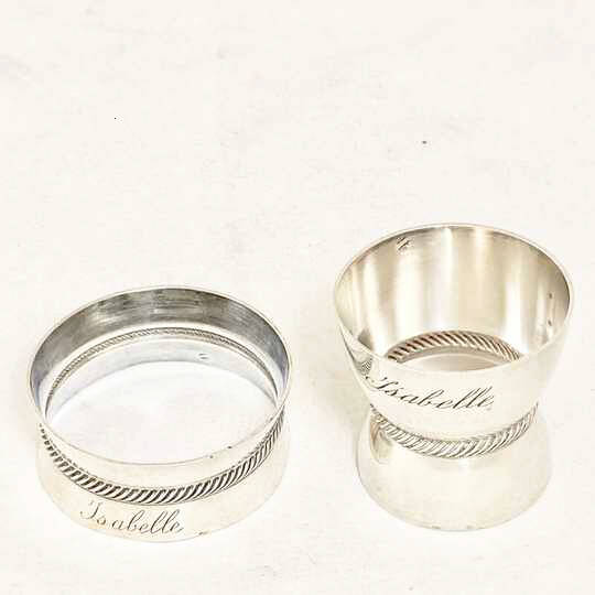 Set of egg cup and napkin ring in solid silver engraved with Isabelle 's name