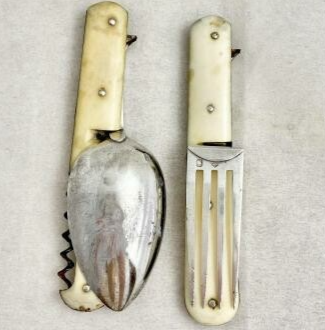 Travel Cutlery, Sterling Silver, 19th Century France, Corkscrew