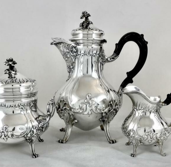 Louis XV Coffee Service, Solid Silver, Puiforcat, Paris 1870-1890
