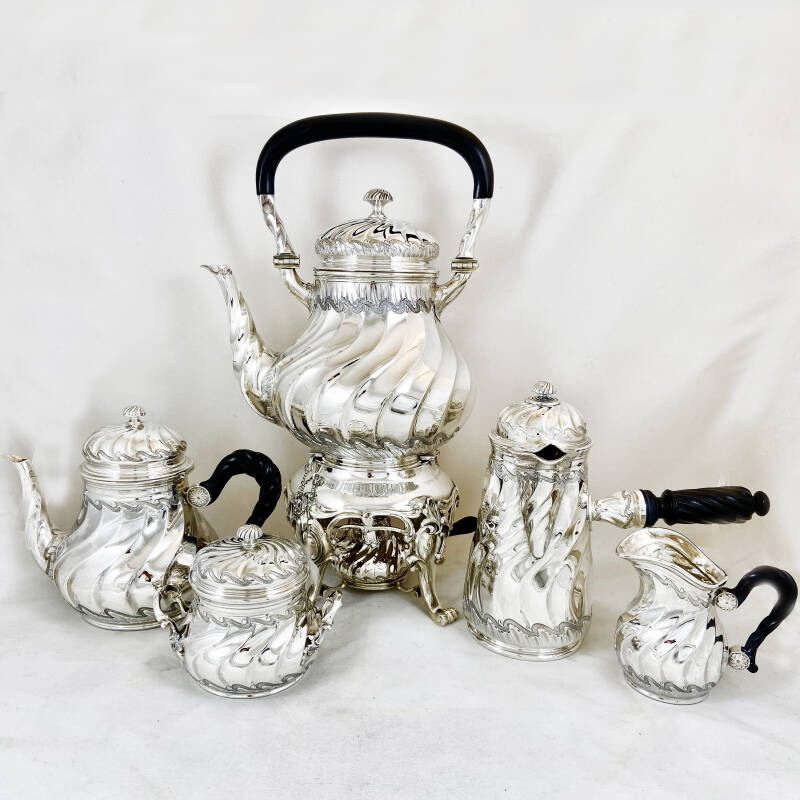 Coffee & tea set with samovar, Louis XV Style, Henri Lapparra, Paris 1920, sterling silver