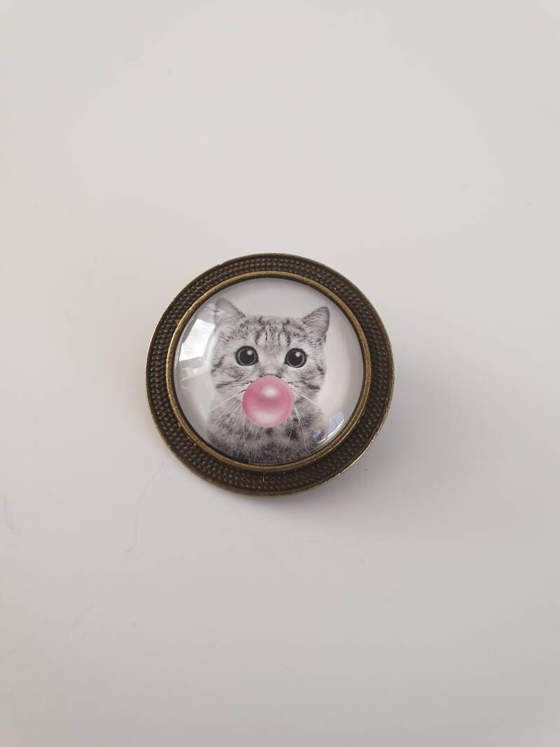 Broche poes met bubble gum