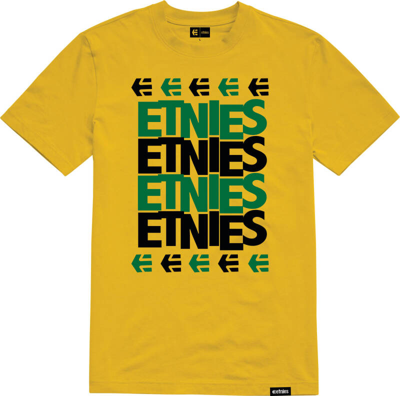 ETNIES STACKED SS TEE YELLOW