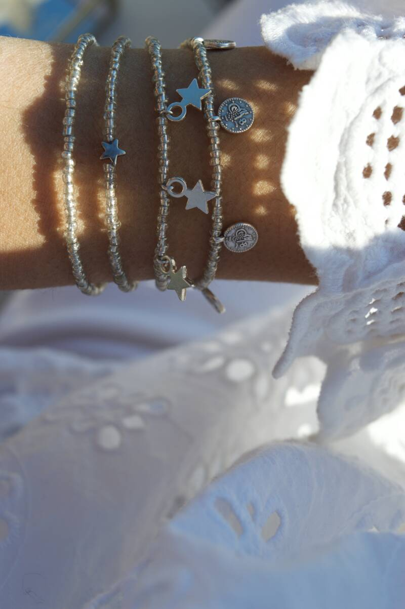 Silver with beads
