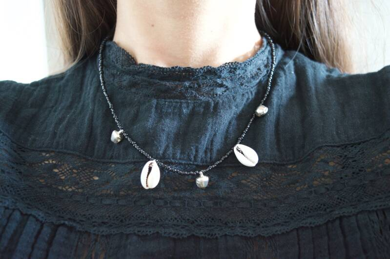 Black with shells and bells