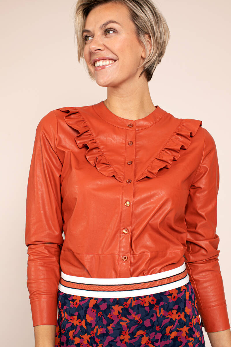 Odelia faux leather blouse (Abricot)
